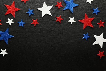 red white blue: Red, white, and blue stars on slate background