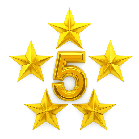 Five golden stars - 3d rendering