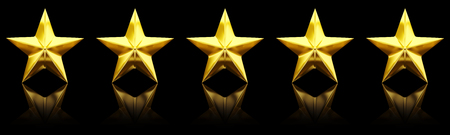rating: Five shiny golden stars - 3d rendering