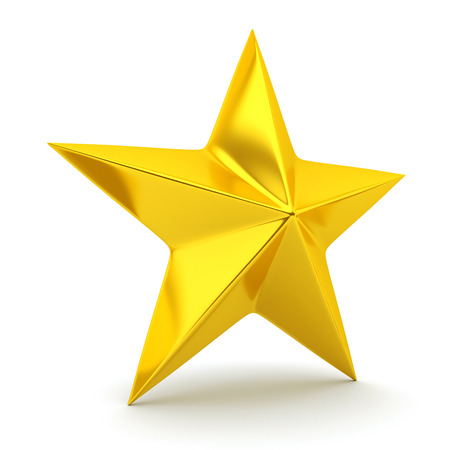 rendering: Shiny golden star - 3d rendering