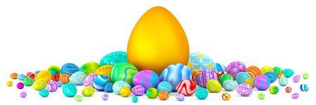 giant easter egg: Pile of colorful Easter eggs surrounding a giant golden egg Stock Photo