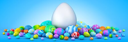 surrounding: Pile of colorful Easter eggs surrounding a giant white egg