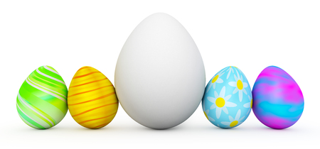 white eggs: Line of colorful Easter eggs with large white egg