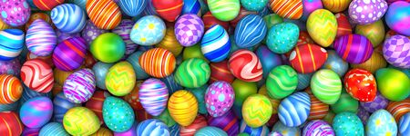 vivid colors: Pile of birght and colorful Easter Eggs - 3d render Stock Photo