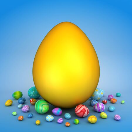 Golden egg surrounded by colorful Easter eggs