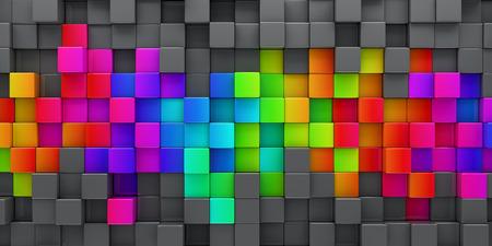 다채로운 블록 레인 보우 추상적 인 배경 -3d 렌더링