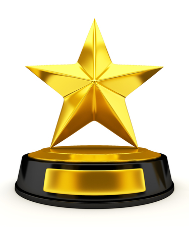 rating: Golden star trophy isolated on white - 3d render