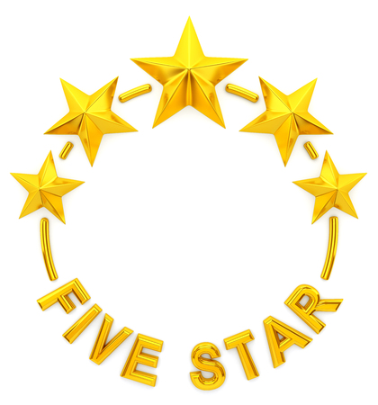 rating: Five golden stars - 3d rendering