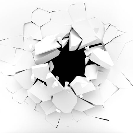 crack: White wall exploding into pieces - 3d rendering