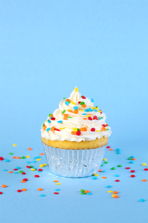 Single iced cupcake with colorful sprinkles 免版税图像