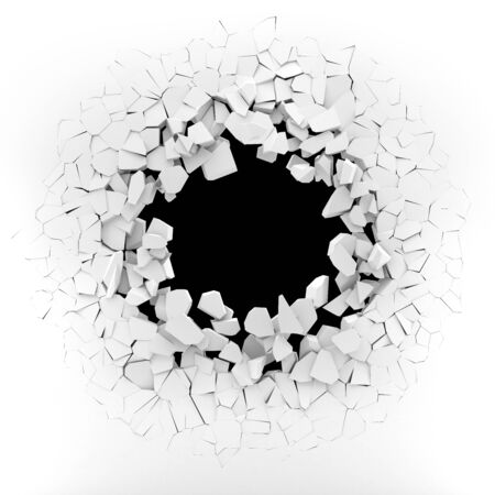 White wall exploding into pieces - 3d rendering