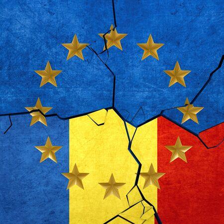 Europese Unie en Roemeense vlaggen uit elkaar breken