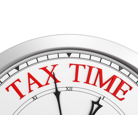 Tax time deadline on a clock