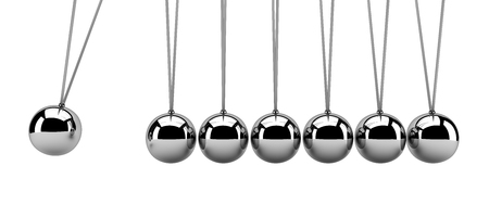 Newton's cradle isolated on white - 3d render