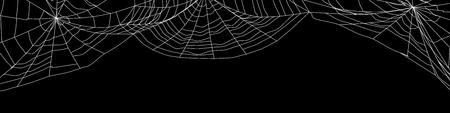 Large white spider web on black - 3d render Stockfoto