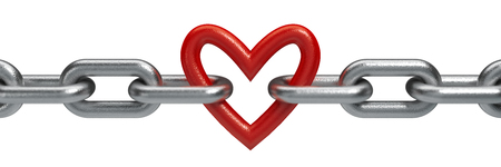 Red heart held by a steel chain background