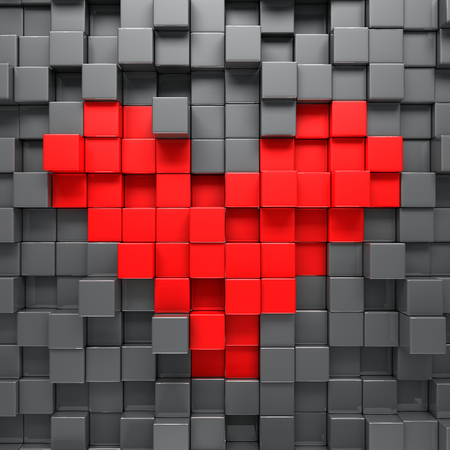 Red heart blocks background - 3d render