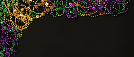 Purple, Gold, and Green Mardi Gras beads