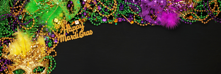 Happy Mardi Gras with Purple, Gold, and Green Mardi Gras beads and masks