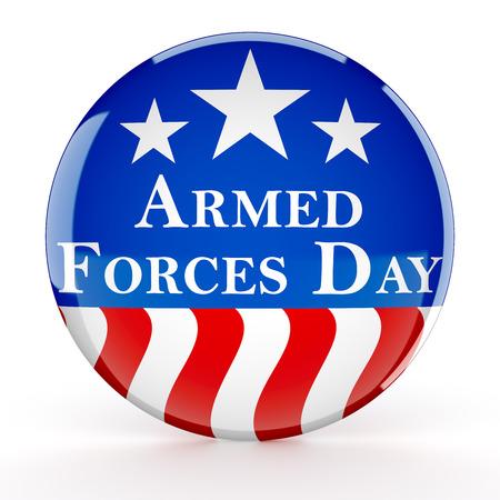 Botón del día de las fuerzas armadas Foto de archivo