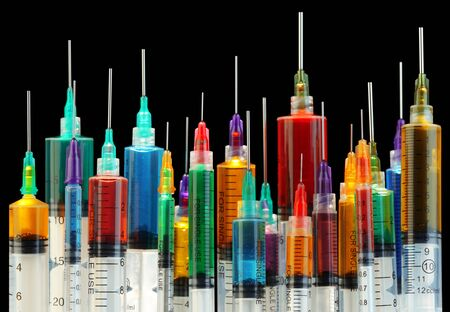 Collection of bright and colorful syringes
