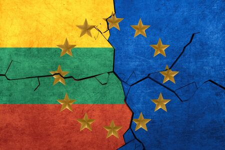 European union and Lithuania flags breaking apart