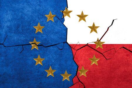 European union and Polish flags breaking apart Stock Photo