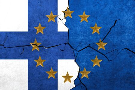 European union and Finland flags breaking apart
