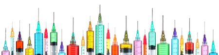 Row of bright colorful syringes