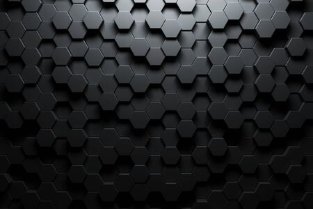 Dark hexagon wallpaper or background