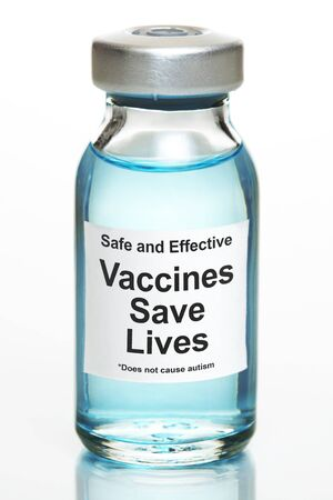 Drug vial with label - Vaccines Save Lives Imagens