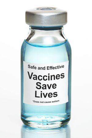 Drug vial with label - Vaccines Save Lives Banco de Imagens