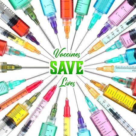 Bright and colorful syringes - Vaccines Save Lives Imagens