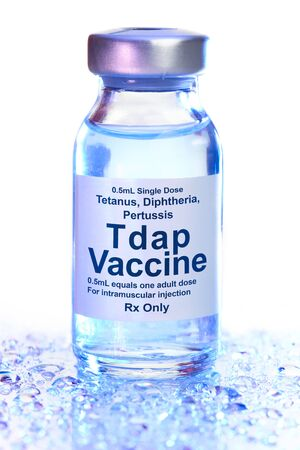 Small drug vial with Tdap vaccine