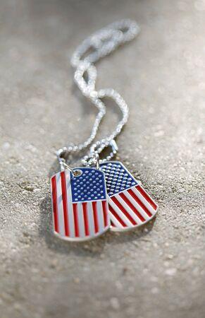 American flag dog tags