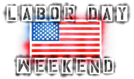 American USA flag and Labor Day Weekend text in spray paint stencils isolated on white