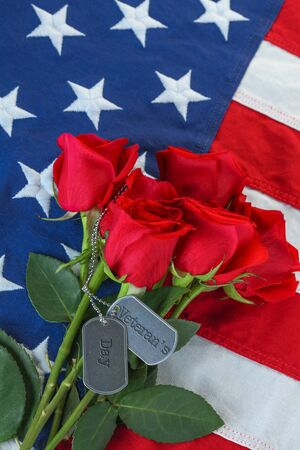 American flag with roses and military dog tags with text - Veterans Day
