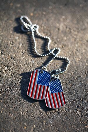 American flag dog tags background