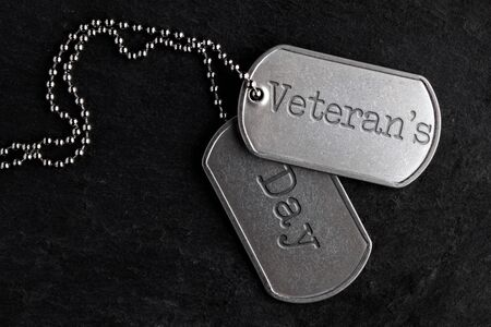Old and worn military dog tags - Veterans Day