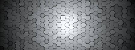 Dark hexagon wallpaper or background - 3d render