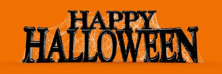Orange Happy Halloween text in black covered in spooky spider webs banner - 3d render