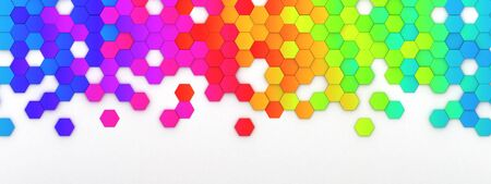 Abstract bright and colorful hexagon mosaic wallpaper or background - 3d render Stock fotó