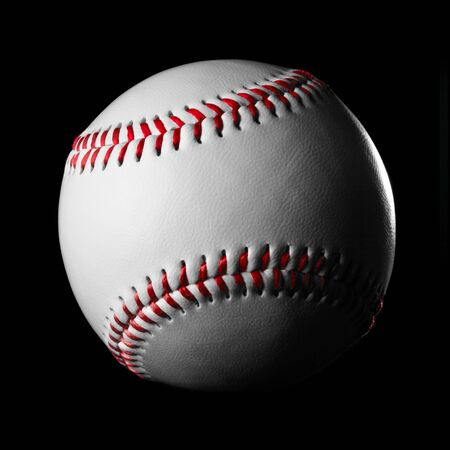 Single new white baseball with red stitches on black. Stock fotó