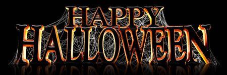 Backlit Happy Halloween text covered in spooky spider webs banner - 3d render Stock fotó