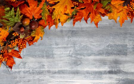 Red, yellow, green, and gold autumn leaves on white washed wooden background