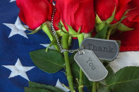 American flag with roses and military dog tags with text - Thank You
