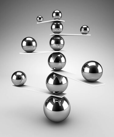 3d render of carefully balanced spheres. Balance and stability concept