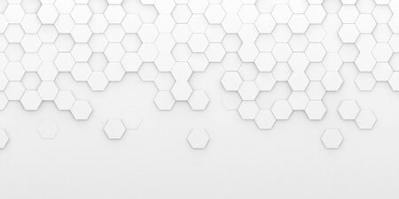 Bright white abstract hexagon wallpaper or background - 3d render