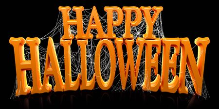 Orange Happy Halloween text covered in spooky spider webs banner - 3d render Stock fotó