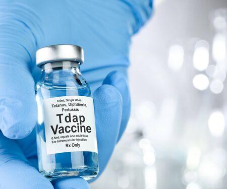 Small drug vial with Tdap vaccine Stock fotó